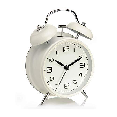Reloj Despertador de Doble Campanas con luz Nocturna, Gran Esfera de 4 Pulgadas, Vintage Despertadores de Mesita Relojes, Sin Tictac, Silencioso, Timbre de Alarma Retro (Blanco)
