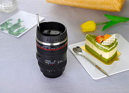 Coffee Mug,Camera Lens Cup with Sipping Lid,Super Bundle(Spoon+Straw+Brush),Stainless Steel Travel Mug,Beer Tumbler,Photographer Tea Cup,Novelty Filmmaker Coffee Mugs for All Festival,by Triumphic