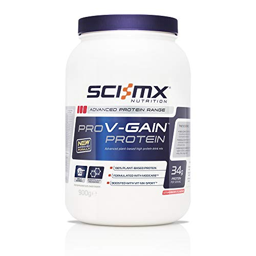 SCI-MX Nutrition Pro V-Gain Protein Powder, Plant Based, 900 g, Strawberry, 20 Servings