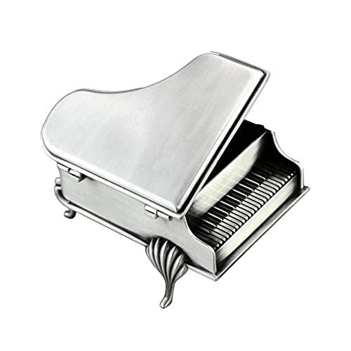 Caja de Música Grand Piano Music Box caja de música de metal 18 tono Mini Música de Wind-up caja de joyería, Cumpleaños de Navidad Regalo de San Valentín para niñas Caja Decorativa ( Color : Silver )