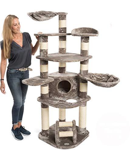 JAMAXX Premium XXL Kratzbaum für große Katzen H175cm extra-Dicke 11 cm Stämme stabil, extra-weiches Soft-Plüsch, PCT6003 grau-braun