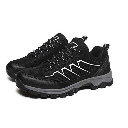 SMGPY Zapatos De Senderismo Hombres,Antideslizantes Ligeras Zapatillas De Escalada Calzado De Trekking para Correr Alpinismo Gimnasio Deportes Al Aire Libre,Negro,40