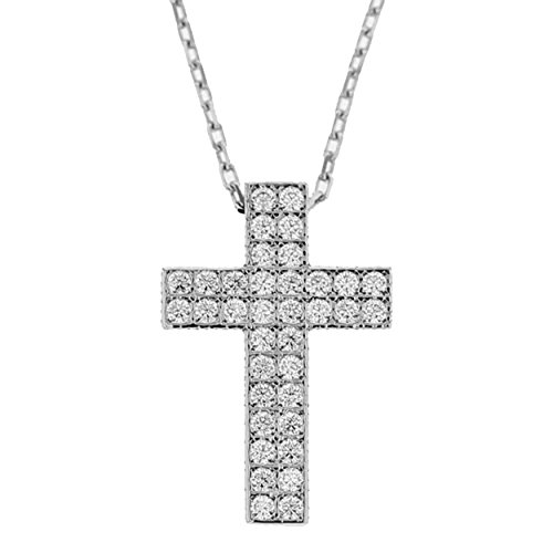 Echt goud dames zirkonia kruis met ketting sieradenset witgoud hanger gouden hanger set 2362