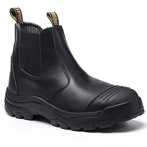 diig Work Boots for Men, Steel Toe Waterproof Working Boots, Slip Resistant Anti-Static Slip-on...