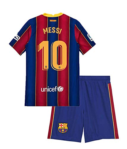 Domjurtd Messi #10 Kids/Youths Sportswear Barcelona 2020/2021 Season Home Soccer T-Shirts Jersey/Shorts Size 26 Blue