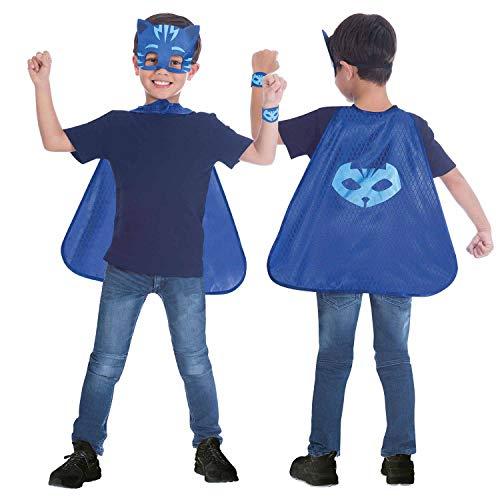 amscan 10132445 - Costume da mantello blu con maschera PJ Catboy, 4-8 anni, 1 pezzo