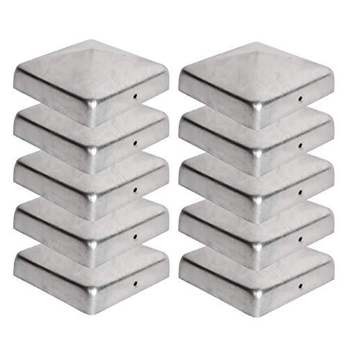 10 x Pfostenkappe für Zaunpfosten (90x90 mm) | Verzinktem Stahl | Pyramiden Form | Abdeckkappe für Holzpfosten VIIRKUJA