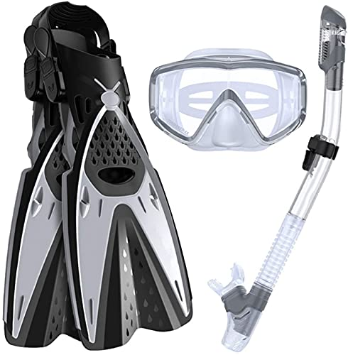 Ertong Scuba Diving Gear Swimming Combo Set Waterproof and Anti-Fog Snorkel Mask+Adjustable Freediving Swimming Fins/Flippers+ Breathing Tube for Adults and Kids (Silver, ML/XL(Adult US Size 9-13))