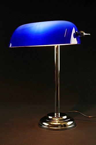 Lámpara ministerio de cromo, vidrio azul o ámbar - ALTURA 40 cm