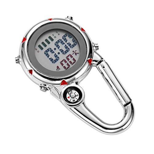 BESPORTBLE Clip auf Quarzuhr Karabineruhr Mini Pocket Fob Uhr für Klettern Outdoor-Aktivitäten (Rot)