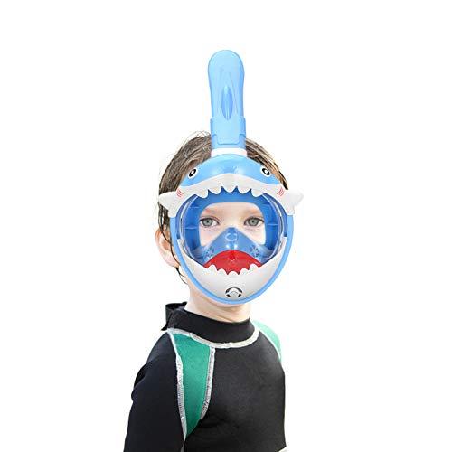 SMACO Máscara de Buceo para Niños 180 °Máscara de Snorkel de Cara Completa Infantil, Anti-vaho Anti-Fuga Plegable Máscara Snorkel para Niños de 4 a 10 Años—Azul