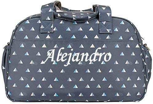 Kiwisac- Bolso carrito bebe personalizado con nombre bordado bandolera (Piramides gris)
