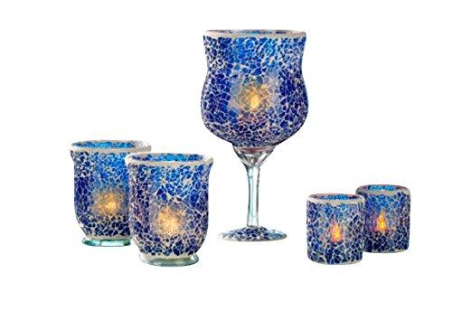 Splitter Mosaik Gläser 5tlg. mit LED Kerzen Lila Dekoration Gläser