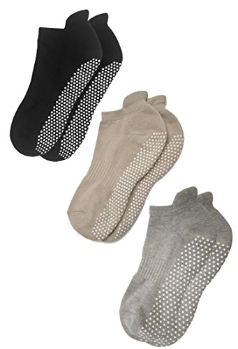 RATIVE Anti Slip Non Skid Barre Yoga Pilates Hospital Socks with grips for Adults Men Women (Large, 3-pairs/black+beige+grey)