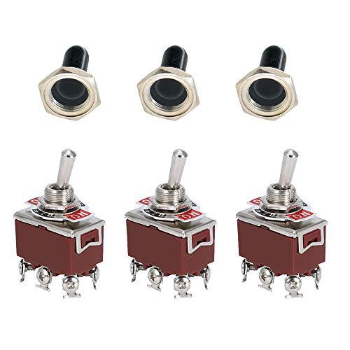 Mintice™ 3 X Interrupteur Inverseur à Bascule Levier en Métal ON/OFF/ON 6 Terminal Pin DPDT Poids Lourd 20A 125V 15A 250V Voiture Moto bouton casquette