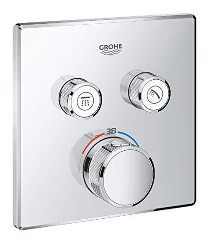 Grohe Grohtherm SmartControl - Termostato cuadrado para ducha y baño con instalación empotrada y dos válvulas, Cromo (Ref. 29124000)
