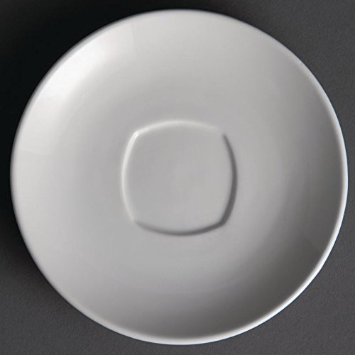 Olympia Whiteware Lot de 12 soucoupes carrées rondes en porcelaine Blanc 150 mm