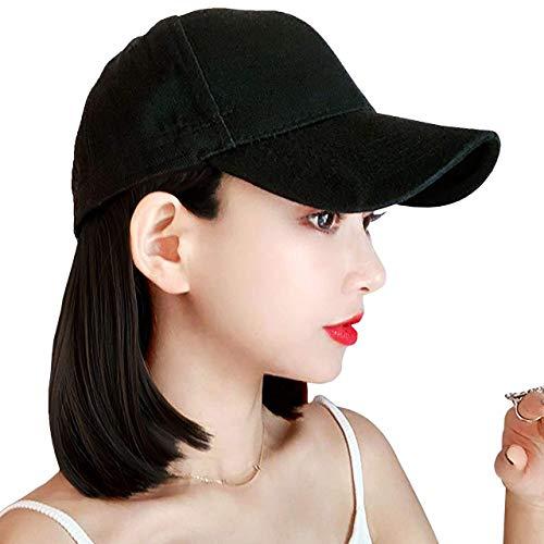 野球帽ショートヘアウィッグショートボブヘアスタイル医療用帽子ウィッグ ボブ 毛付けBOBO帽子新型かつら 耐熱 ネイビーキャップ ミリタリー 女性用 前髪なしブラックブラウン