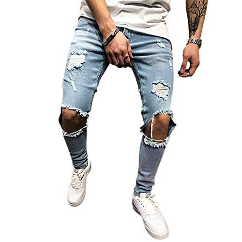 Jeans met gescheurde gaten voor heren Klassieke rechte pasvorm met 4 zakken slimfit normale pasvorm en stretch