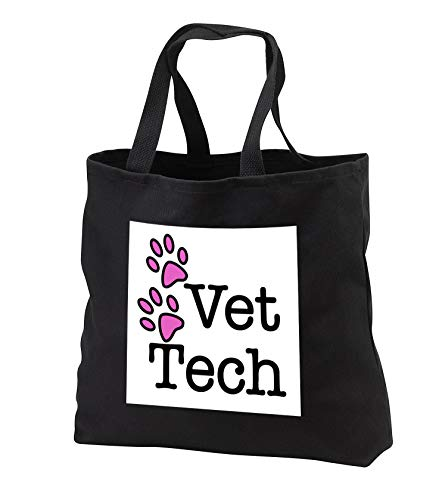 3dRose EvaDane - Quotes - Vet Tech, Pink - Black Tote Bag 14w x 14h x 3d (tb_161088_1)