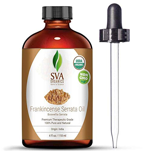 Frankincense Essential Oil - 4 oz 100% Pure Certified Natural Organic Oil with Therapeutic Grade by SVA Organics, Perfect For Aromatherapy,Skin,Massage,Anxiety,Relief