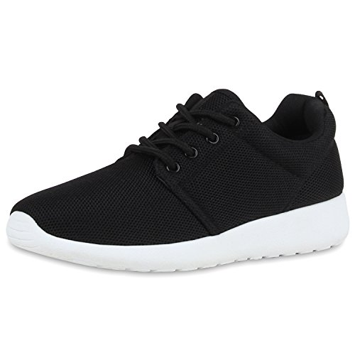 SCARPE VITA Damen Sportschuhe Trendfarben Runners Sneakers Laufschuhe 160469 Schwarz White Total 42