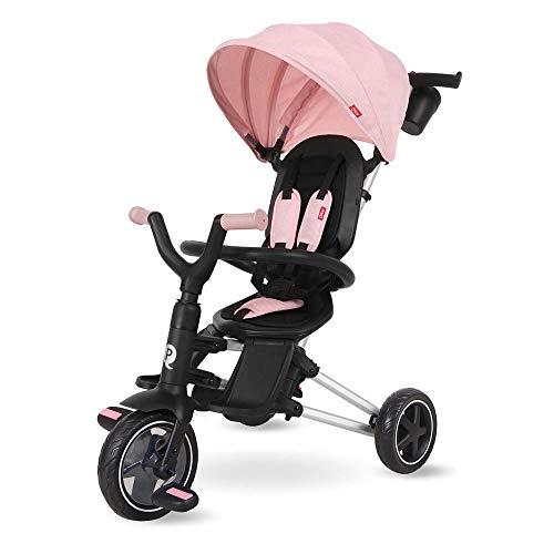 QPLAY - Triciclo Nova - Evolutivo - Plegable - Reclinable - Ideal para Niños de 10 a 36 Meses (máximo 25 Kg) (Rosa)
