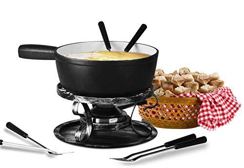 Artestia fondue pot,Cast Iron Fondue Set,Cheese Fondue Sets - Includes Ceramic Pots,Six Fondue Forks Premium Porcelain Melting Pot For Cheese, Chocolate (Black)