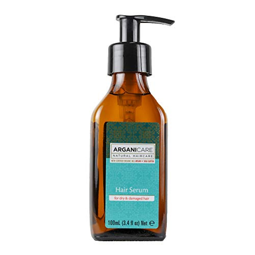 Arganicare Organic Moroccan Argan Oil Hair Serum for dry and damaged hair with Certified Organic Argan Oil and Shea Butter. 3.4 fl. Oz.