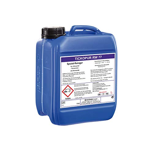 Tickopur RW77 (5 liter), Ultraschallflüssigkeit für Leiterplatten, Uhren und vieles mehr!   Reinigungskonzentrat mit Dosierung von 5 Prozent, Ultraschall Reinigungsmittel mit pH 9,9, schwach alkalisch