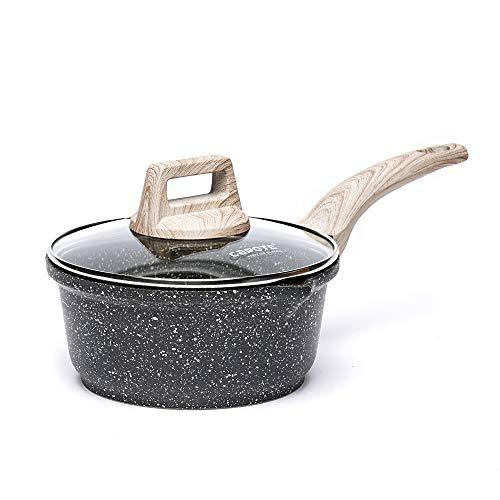 Carote 1.5-Quart Sauce Pan with Glass Lid,Soup Pot Nonstick Saucepan Granite Coating from Switzerland