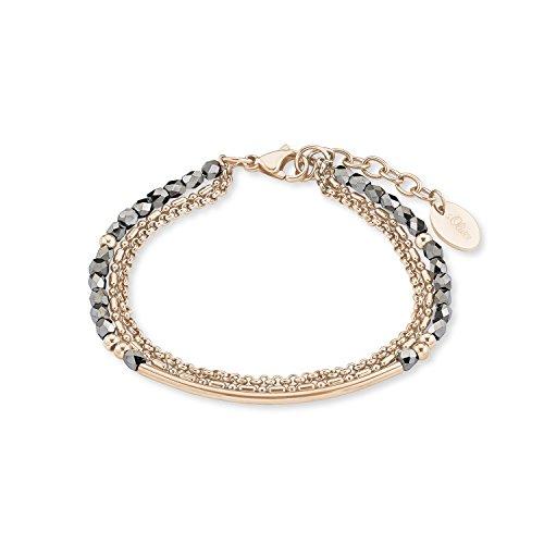 s.Oliver Damen-Armband 20cm Edelstahl IP Rose Beschichtung Glassteine silber