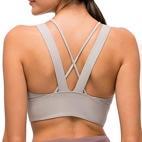 Lavento Women's Strappy Sports Bra Longline Padded Medium Support Workout Yoga Bra...
