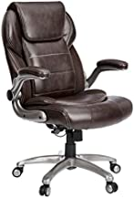 AmazonCommercial Ergonomic High-Back Bonded Leather Executive Chair with Flip-Up Arms and Lumbar Support, Brown