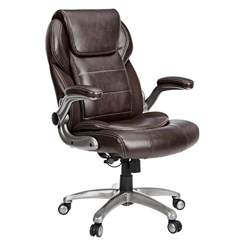 AmazonCommercial Ergonomic High-Back Leather Executive Chair with Flip-Up Arms and Lumbar Support, Brown, BIFMA Certified