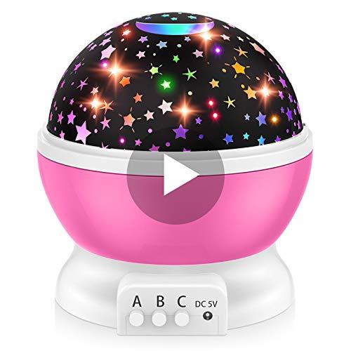 Dreamingbox Mädchen Geschenk 3-12 Jahre, Nachtlicht Sternenhimmel Jungs 3-12 Jahre Spielzeug 3 4 5 6 7 Jahren Mädchen Halloween Party Geburtstags Geschenk für Mädchen Rosa