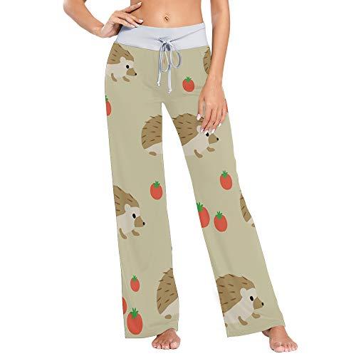 Pantalones de Pijama de Pierna Ancha elásticos para Mujer Pantalones de salón cómodos XL Erizo de Dibujos Animados