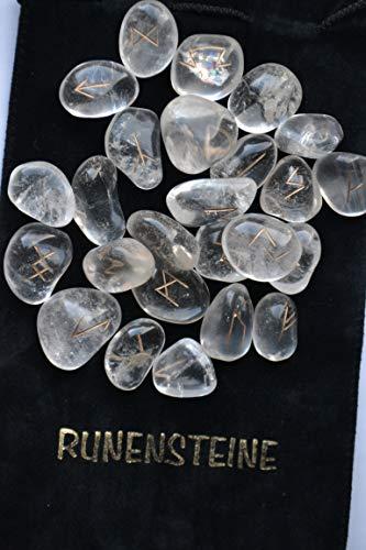 Bergkristall klar Rune Set Tumble Edelsteine Reiki Healing Steine Samtbeutel 25PC