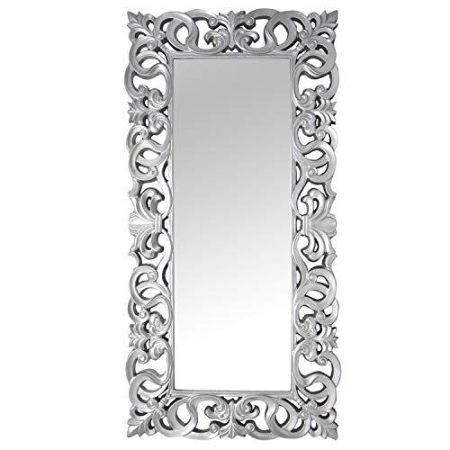 la fabrica del cuadro -Espejo Decorativo de Pared, Barroco Color Plata, Modelo Goya - Medida Exterior 88x178 cm, Medida de Espejo 48x138 cm