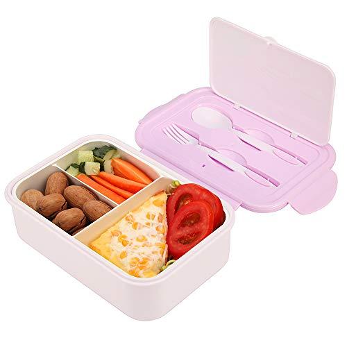 Caja de Almuerzo de Plástico Púrpura, Caja de Bento con 3 Compartimentos y Cubiertos (Tenedor y Cuchara), Fiambreras Caja de Alimentos Ideal para Almuerzo y Bocadillos para Niños y Adultos, 1400ml