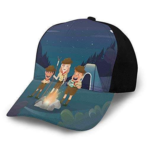 Printed Baseball Cap,Three Scouts In The Forest At Night Moon Sky Mystic Outdoor Explorer Kids Activity,Hat for Men Women Teens