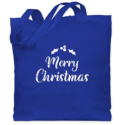 Weihnachten & Silvester - Merry Christmas - Vintage weiß - Unisize - Royalblau - Statement - WM101 - Stoffbeutel aus Baumwolle Jutebeutel lange Henkel