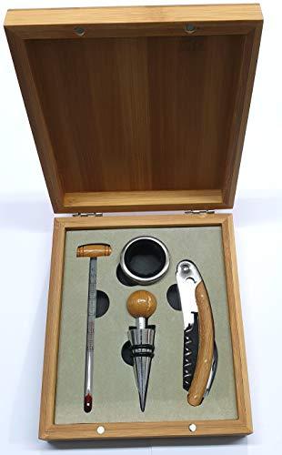 Brandani 54439 cofanetto enoteca set 4 pezzi in zinc alloy, acciaio inox e bamboo