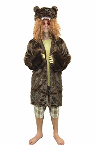 Oem Men's Workaholics Grizzly Bear Coat Costume With Glasses L Brown