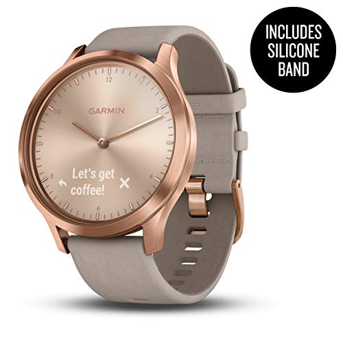 Garmin vívomove HR, Hybrid Smartwatch for Men and Women, Rose Gold w/Suede Band