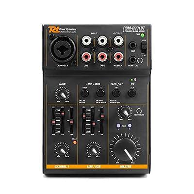 PDM-D301BT 3-Ch Mini USB Recording Sound Card Phantom Power Mic Bluetooth Mixer