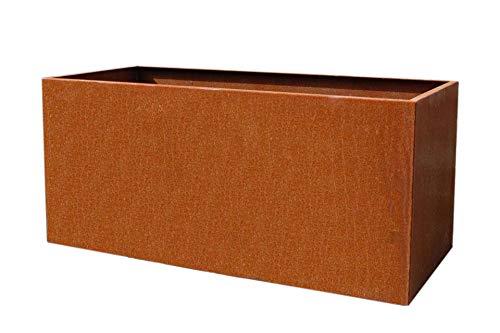 Vivanno Pflanztrog Pflanzkübel Pflanzkasten Cortenstahl Metall Eckig Maxi, Rostbraun (100x45x45 cm)