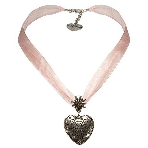 Alpenflüstern Organzaband-Trachtenkette Herz - Damen-Trachtenschmuck Dirndlkette rosa-rosé DHK245