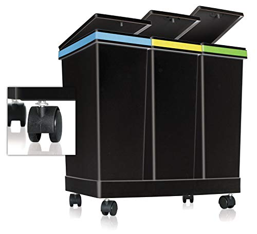 Ecobin   Cubo de basura con ruedas, sistema de separación de residuos de 3 compartimentos para interior y exterior, manejo con una sola mano, 63 litros