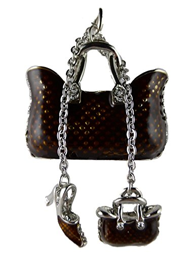 Halskette Kette Straß Straßsteine silberfarben Stein Handtasche Tasche mit Stiletto Mode braun 442
